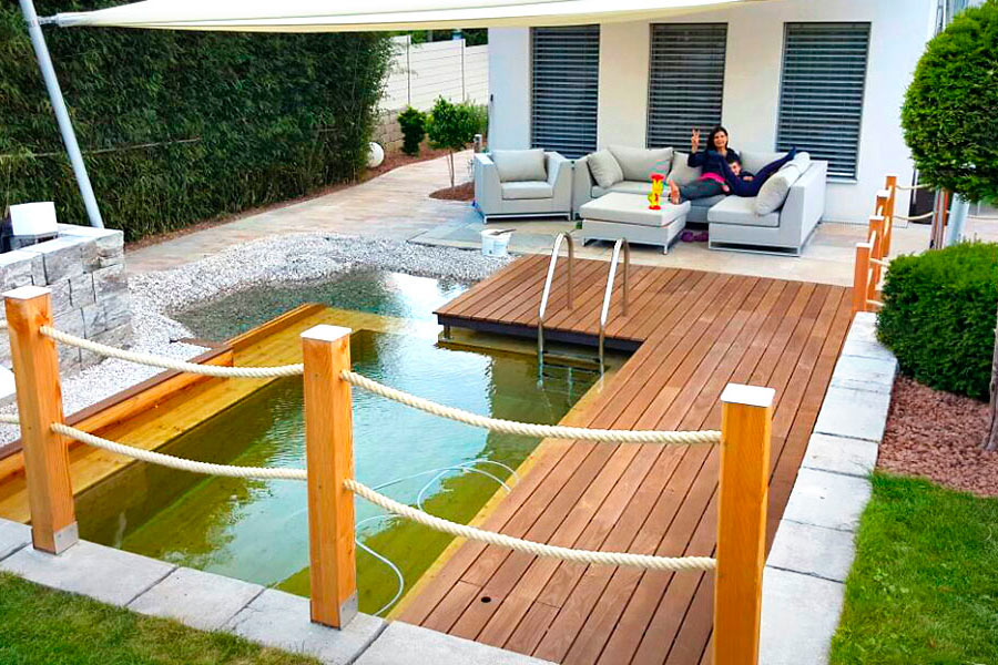 holc naturpool swimmingpool aus holz einbauen. Black Bedroom Furniture Sets. Home Design Ideas